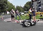 Motorost borított egy autó Nyíregyházán 2017.08.05.